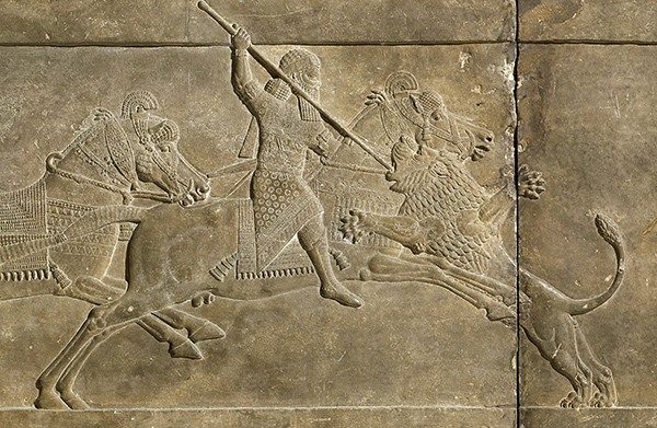 Relief depicting ashurbanipal hunting a lion. 645 – 635 bc.