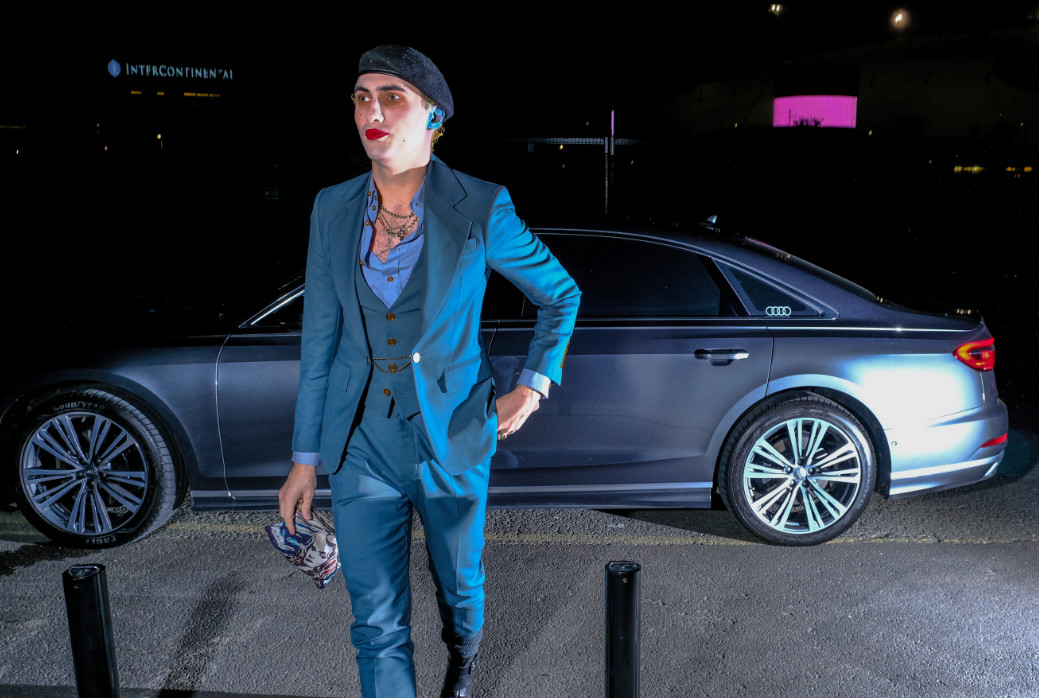 Charles jeffrey arrives in an audi at the gay times honours 500 at magazine london on thursday 21 november 2019