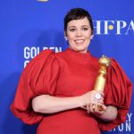 Olivia Colman poses backstage in the press room with the Golden Globe Award at the 77th Annual Golden Globe Awards at the Beverly Hilton in Beverly