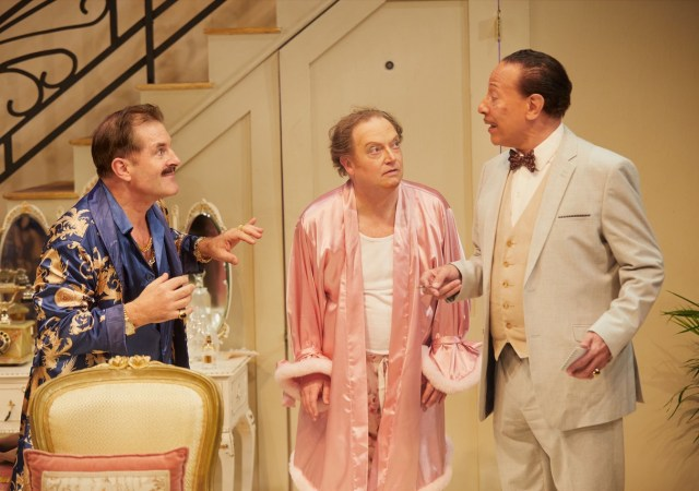 (l r) michael matus (georges), paul hunter (albin) and peter straker (tabaro) in la cage aux folles [the play] at park theatre. photo by mark douet