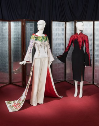 A couture embroidered kimono tailcoat