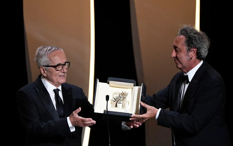 Paolo sorrentino and marco bellocchio honorary palme d'or image credit christophe simon afp