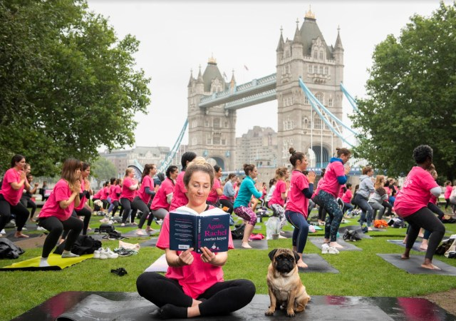 Marian keyes' follow up to 'rachel's holiday' launched with mass yoga event