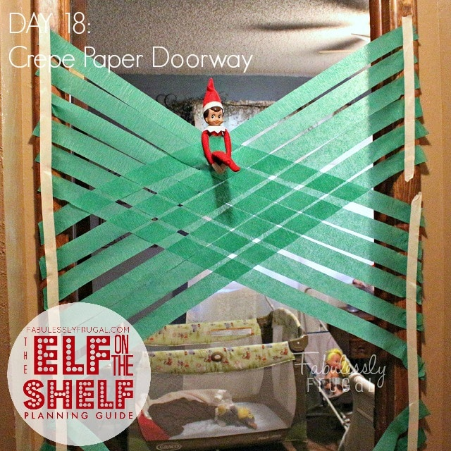 25 Days of funny Elf on the Shelf Ideas: Day 18 Paper doorway