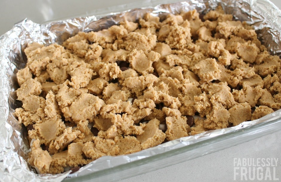 s'mores cookie bars in the pan