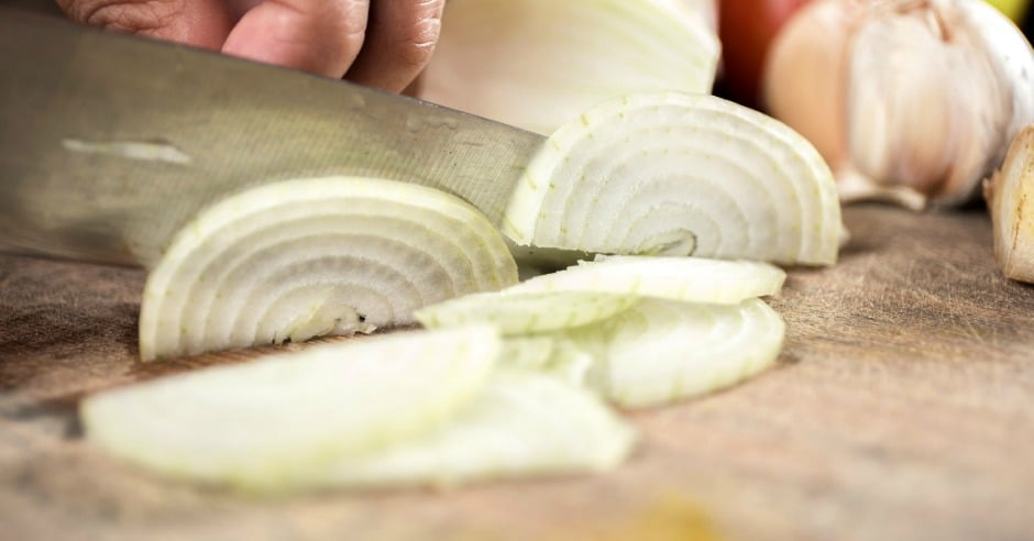 Chopping onions with a knife