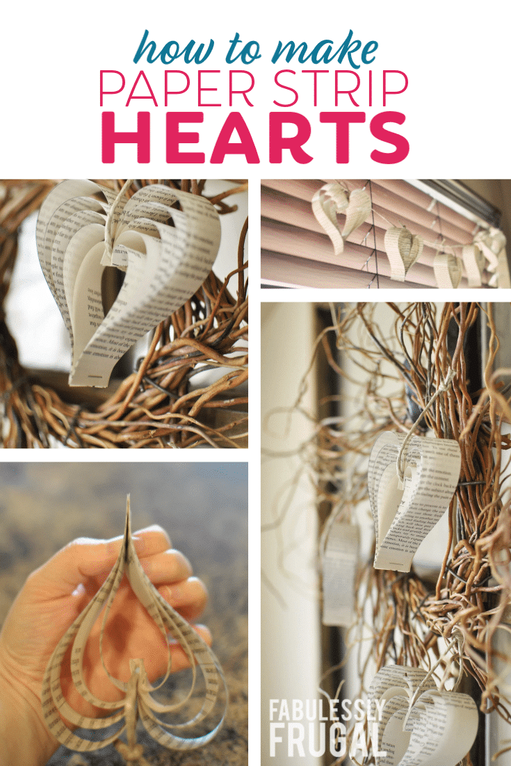 Heart shape paper craft idea using paper from a book