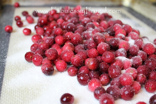 making candied cranberries (sugared cranberries)