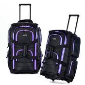 Amazon: Olympia 22 Inch 8 Pocket Rolling Duffel, Black/Purple, One Size...
