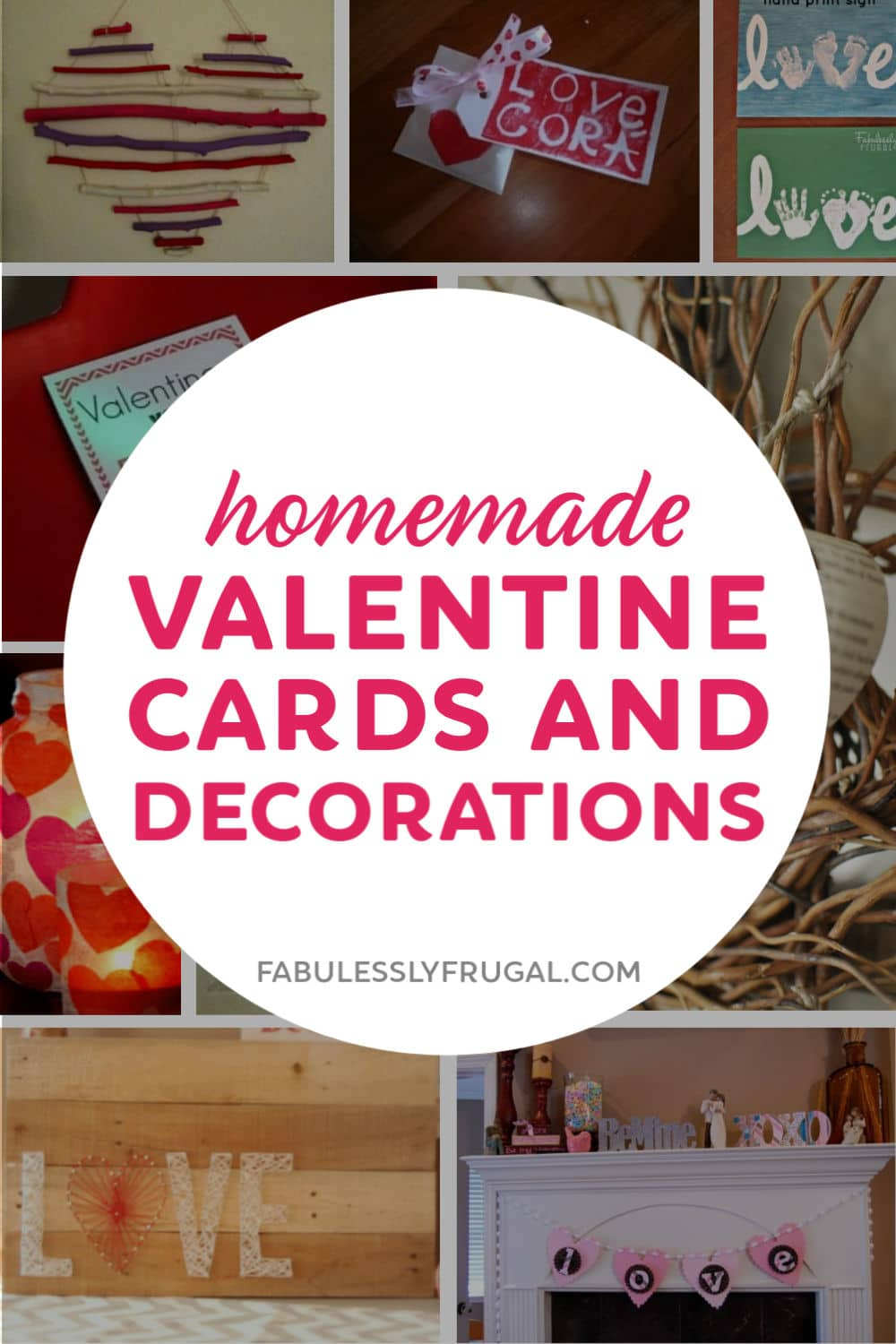 Homemade valentine cards and decorations