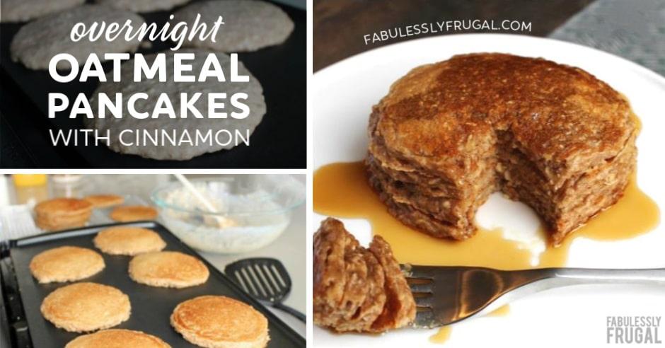 Overnight oatmeal pancakes with cinnamon