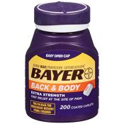 Amazon: 200 Count Bayer Aspirin, Back & Body Coated Tablets, 500 mg as...