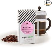 Amazon: 3 Pack 12 Oz AmazonFresh Donut Cafe Whole Bean Coffee, Medium Roast...