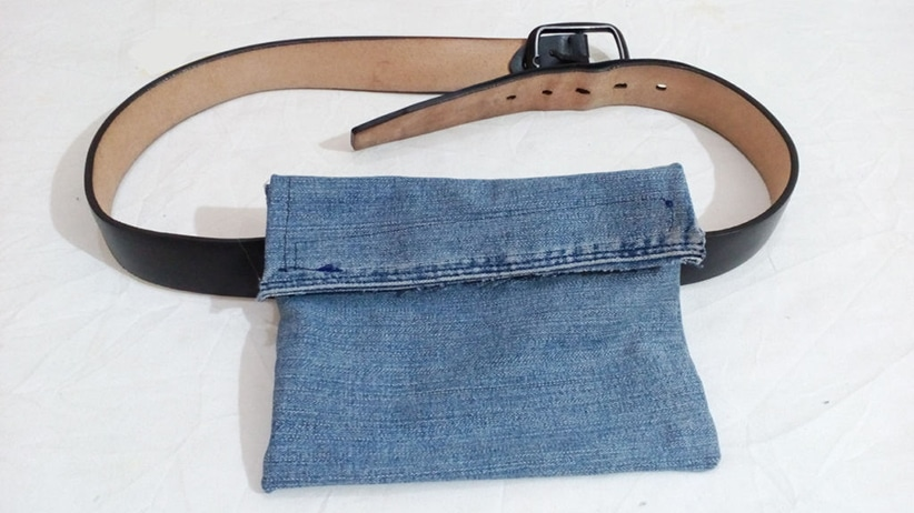 DIY fanny pack from old jeans
