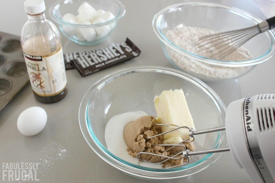 Mixing graham cracker cookie dough
