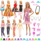 Amazon: For 11.5 Inch Girl Doll Barwa Lot 28 Items (5 Outfits + 10 Pairs...