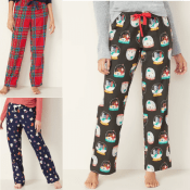 Today Only! Old Navy: Patterned Flannel Pajama Pants for Men Women & Kids!...