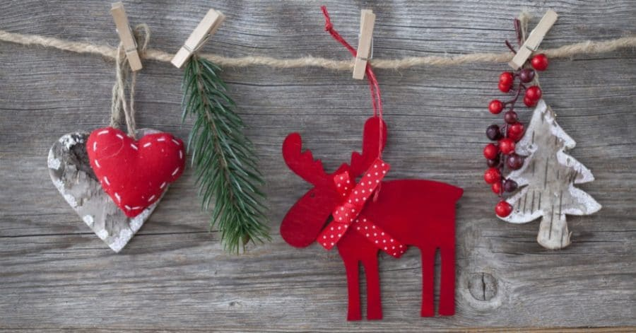 Paper reindeer decoration hung on twine