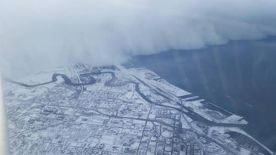 AERIAL VIEW WALL OF SNOW OVER SOUTH BUFFALO