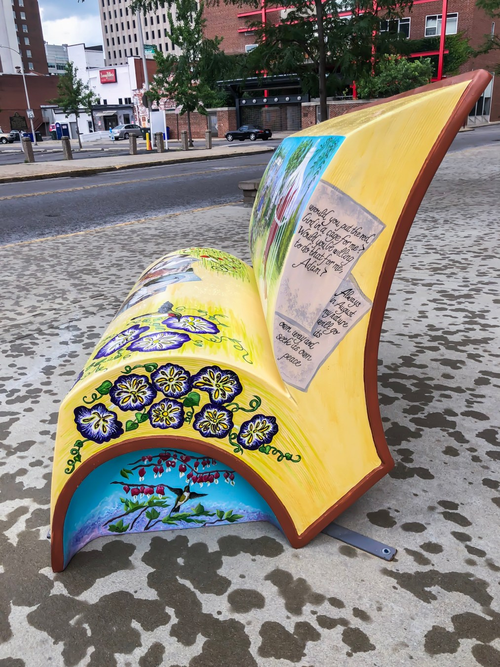 In the summer of 2018, Arts Connect, LexArts and The Carnegie Center for Literacy and Learning has made Lexington more colorful with their collaborativeproject, Book Benches. Book Benches arethirty five book-shaped functional benches that are placed throughout downtown Lexingtonto celebrate Kentucky's literary heritage, to encourage reading, and provide a place for rest. Each bench is illustrated and themed around different works by Kentucky authors and will remain on display for the duration of the summer. #sharethelex #art #painting #artist #author #book #lexingtonky #kentucky #visitlex #bench