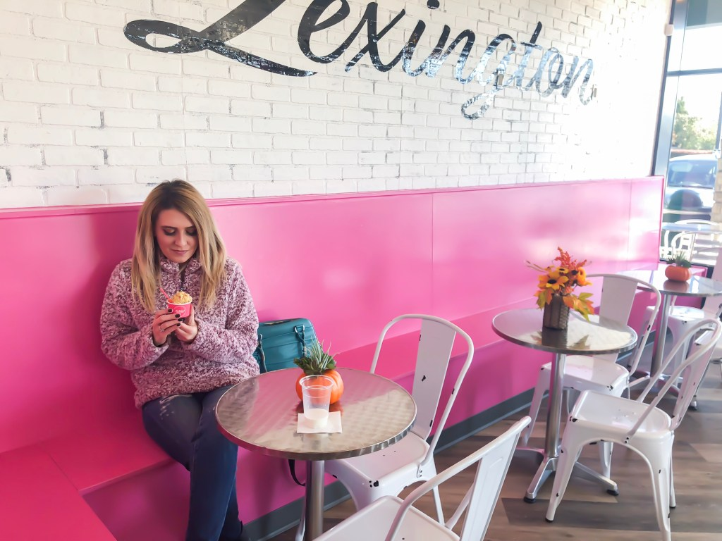 NoBaked Cookie Dough is a Nashville-based raw cookie dough shop that opened in Lexington, Kentucky back in the middle of October. Once you walk inside, it's like an Instagram dream. It's very colorful - everything is pink! #dessert #sweets #cookiedough #kentucky #lexington #lexingtonkentucky #travel #shoplocal #taste #food