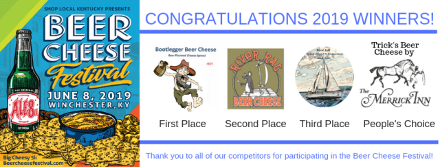 Winners for the Kentucky Beer Cheese Festival