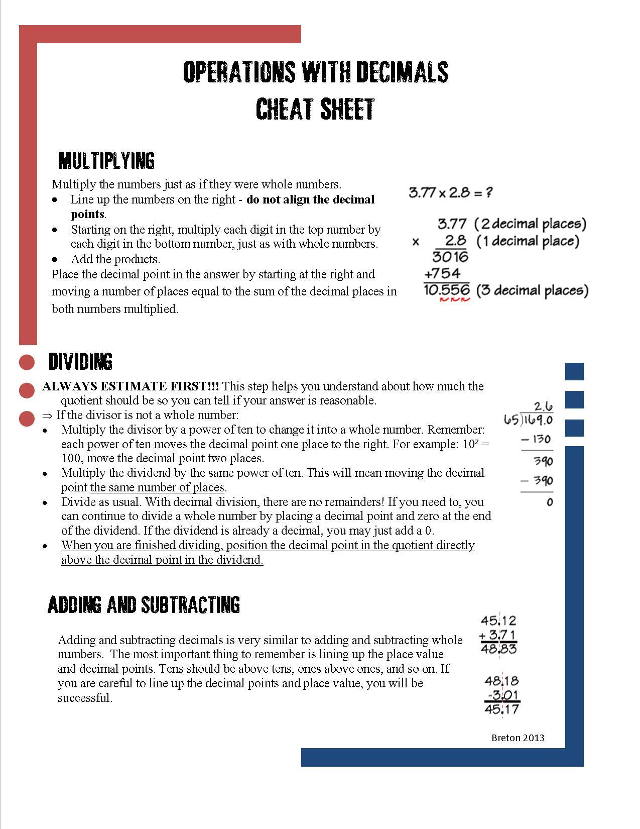 Caffeine And Lesson Plans Decimal Computation Cheat Sheet