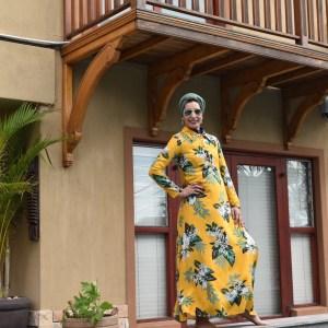 Mustard Green Leaf Dress