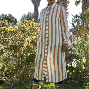 Mustard Stripe Maxi Shirt