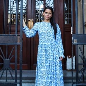 Moroccan Tile Print Viscose Dress
