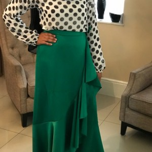 Green Frilled wrap Skirt