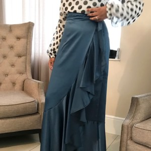 Blue Frilled Wrap skirt
