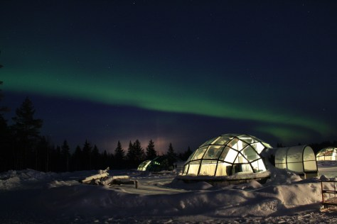Aurora outside the glass igloo hotel, Kakslauttanen, Finland