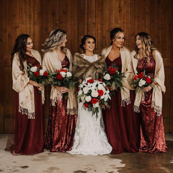 12 Gorgeous winter colors for bridesmaid dresses, bridesmaid dresses, winter bridesmaid dresses #winterwedding metallic red bridesmaid dresses, mismatched bridesmaid dresses