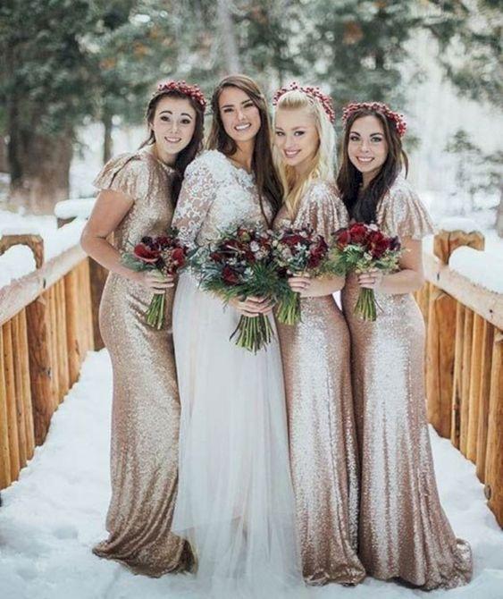 12 Gorgeous winter colors for bridesmaid dresses, bridesmaid dresses, winter bridesmaid dresses #winterwedding metallic bridesmaid dresses, mismatched bridesmaid dresses