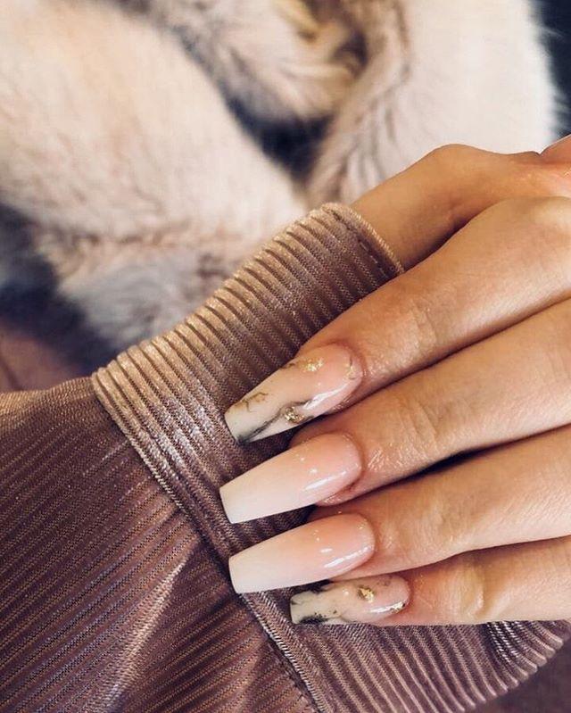 pink ombre marble nail designs #nailart #marblenails