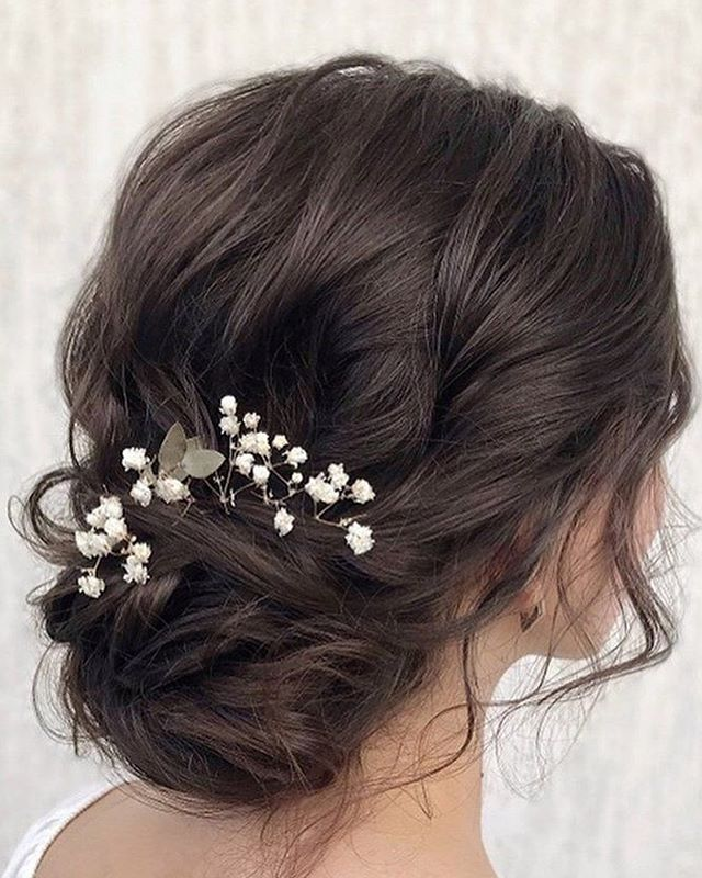 wedding updo with baby's breath , spring wedding hair ideas #weddinghair