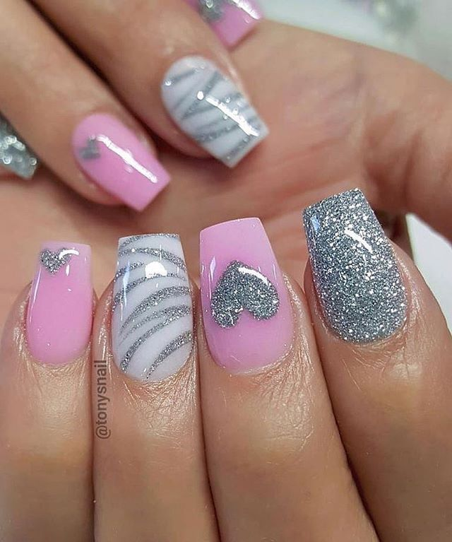 best nail art ideas for Valentine's day 2020 - 3, valentine nails 2020, valentines day nails 2020, valentine's day acrylic nails, valentine gel nails, valentines day nails 2020, nail designs, heart nail art , pink nail art, pink nail colors, simple heart nail designs, easy heart nail art, heart nail designs for short nails, heart tip nails,  heart toe nail designs, pink nails with red hearts