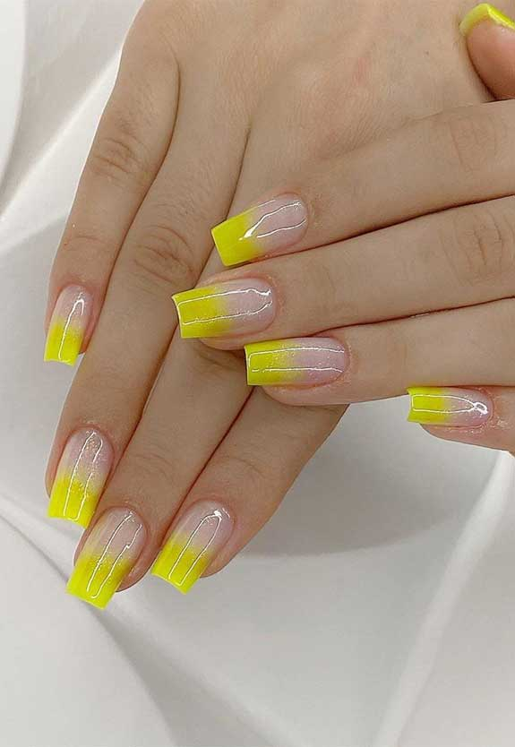 100 spring nail art ideas 2020, best spring nails 2020, mismatched nail art designs, spring nail art designs, nail art designs #nailart #springnails ombre yellow nails