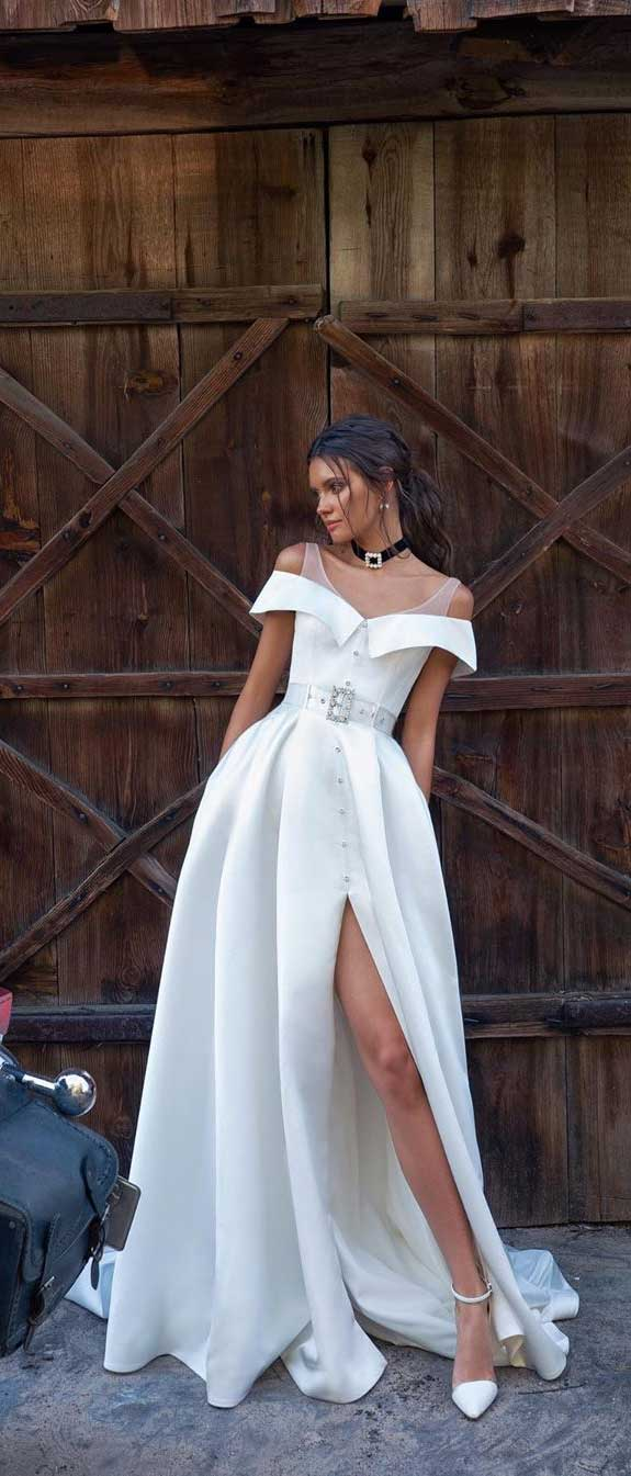 100 the most incredible wedding dresses, off the shoulder wedding dress, simple wedding gown #weddingdresses