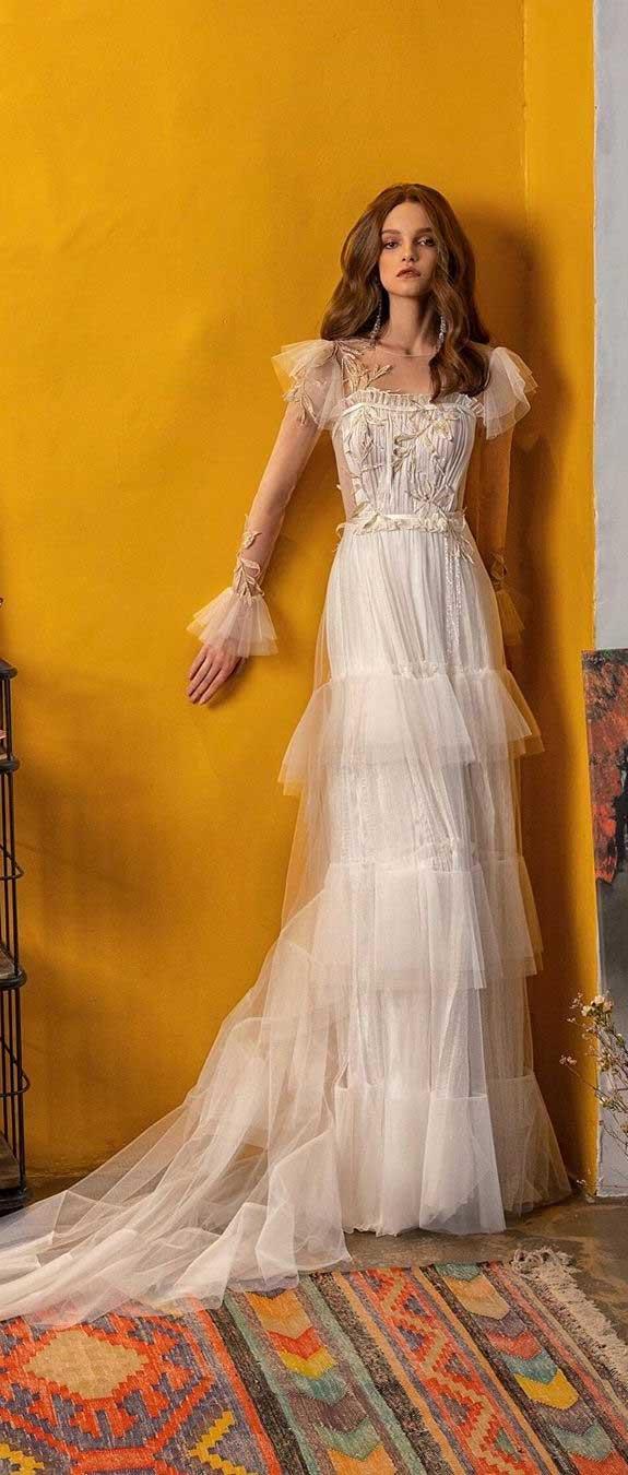 100 the most incredible wedding dresses, long sleeve a line layered skirt wedding dress, wedding dresses ,wedding dress, wedding dress with sleeves , boho wedding dress