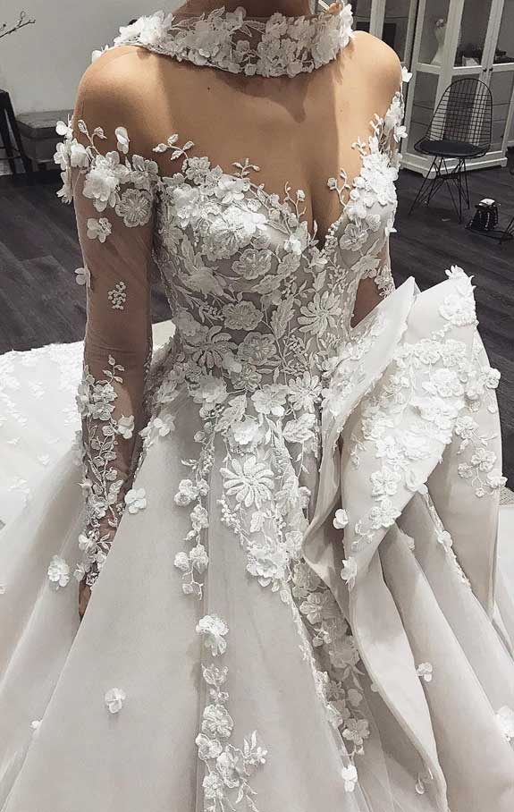 100 the most incredible wedding dresses, long sleeve 3d floral applique wedding dress, wedding gown, wedding dresses,long sleeve ball gown, wedding dress with 3d floral applique