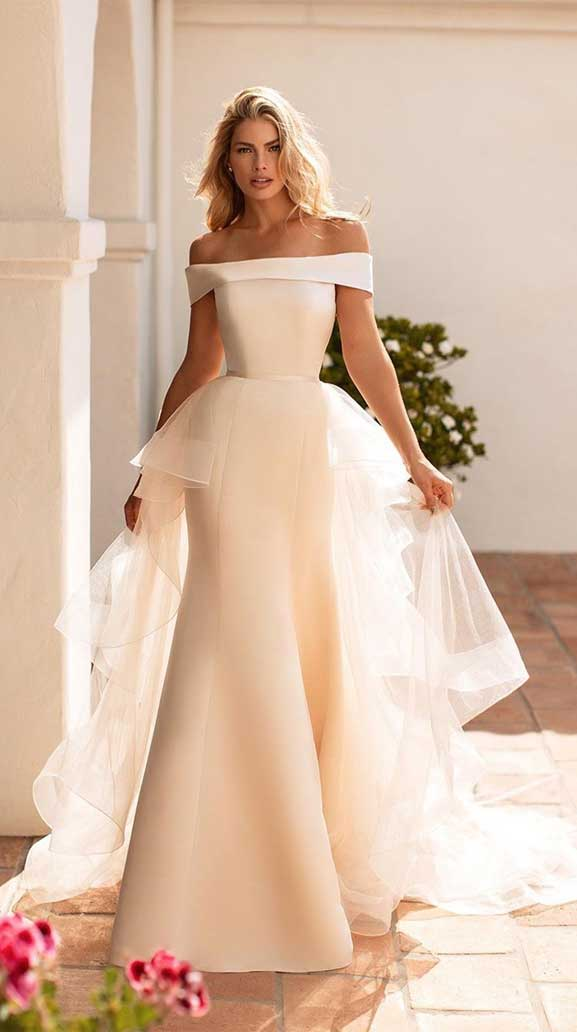 off the shoulder  simple wedding gown, simple wedding gown, contemporary wedding dress, wedding dress with detachable skirt , wedding gowns, wedding dresses