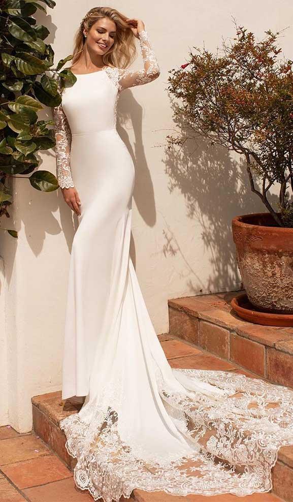 long sleeve wedding dresses, long sleeve wedding dress, mermaid wedding dress, simple wedding gown #weddingdress , wedding dress with sleeves