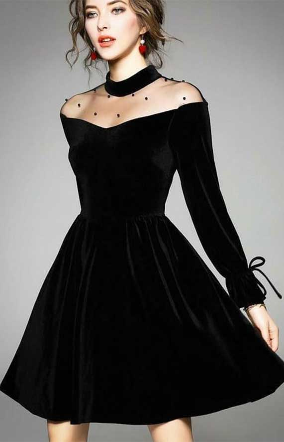 41 Stunning black dresses that you should have in your closet - 10, black dresses formal, black dress elegant, smart black dress, black dress with sleeves, elegant black dress, smart black dress for work, women's black dresses