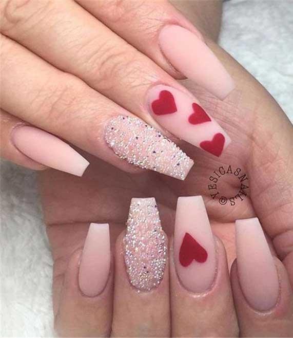 best nail art ideas for Valentine 2020 - 45, valentine nails 2020, valentines day nails 2020, valentine's day acrylic nails, valentine gel nails, valentines day nails 2020, nail designs, heart nail art , pink nail art, pink nail colors, simple heart nail designs, easy heart nail art, heart nail designs for short nails, heart tip nails, heart toe nail designs, pink nails with red hearts
