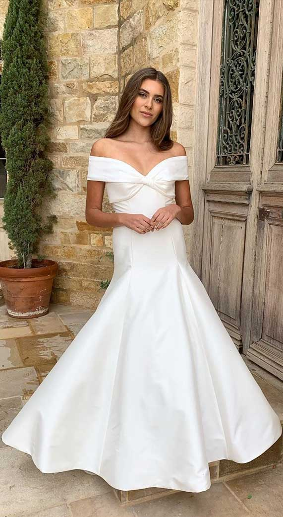 off the shoulder wedding gown, simple wedding gown #simpleweddinggown