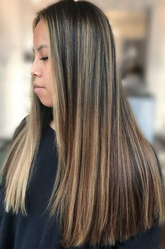 brown with blonde highlights #haircolor brown hair with highlights , blonde hair, hairstyle, hair color #blondehighlights brown hair color, brown balayage