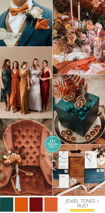 Jewel Tones and Rust Fall Wedding Colors #wedding #fallwedding #rust #jeweltones wedding color palette , fall color scheme, fall color combos, rust wedding, rust and #mauve , teal wedding cake