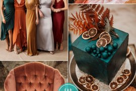 Jewel Tones and Rust Fall Wedding Colors #wedding #fallwedding #rust #jeweltones wedding color palette , fall color scheme, fall color combos, rust wedding, rust and #mauve , teal wedding cake